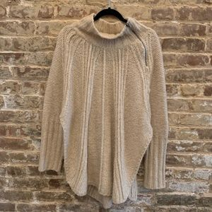 Free People Cream Poncho w/ Sleeves and Zip Detail